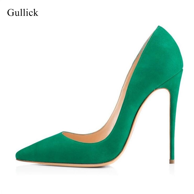 Green High Heel Shoes For Women Sexy Stilettos Heels Slip On Pointed Toe Pumps Plus Size 13 Elegant High Heel Dress Shoes 2018 women yellow high heel pumps pointed toe metal heels wedding heel dress shoes high quality slip on blade heel shoes