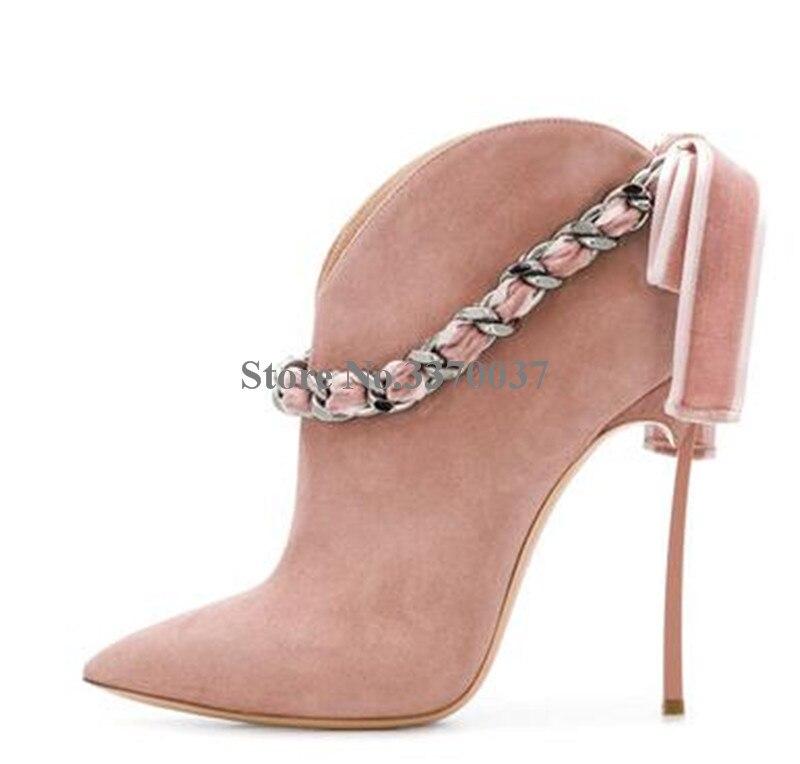 Estilo Da Forma das mulheres Apontou Toe de Camurça de Couro Alça de Corrente de Metal Stiletto Calcanhar Botas Curtas botas de Tornozelo Bowtie Rosa - 6