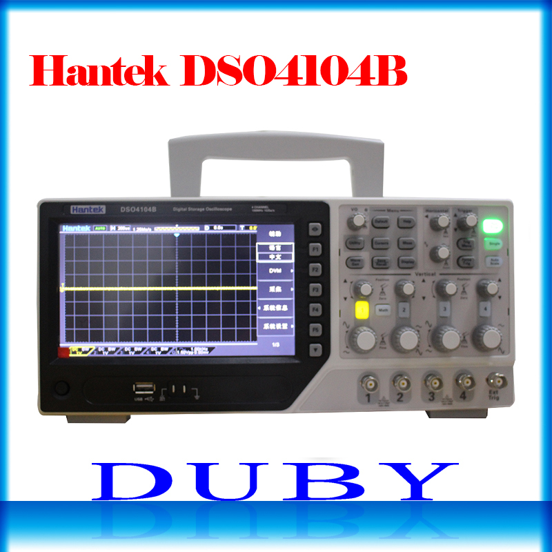 Hantek DSO4104B Digital Storage Bench Type Oscilloscope 100MHz 4 Channels 500uV /div 1GSa/s 7'' TFT LCD Record Length 64K USB hantek dso5072p digital storage oscilloscope 70mhz 2 channels 1gsa s record length 40k usb 2ch