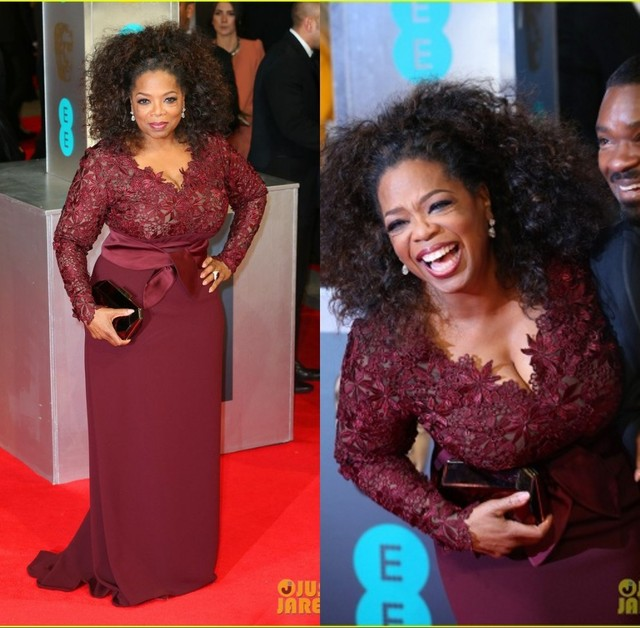 Burgundy Oprah Winfrey V Neck Long Sleeve Lace Top Sweep Train ...