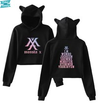 Monsta X Hot Kat Oren Cap Korte Cool Hoodies Dames Vrouwen Sexy Blootgesteld Navel K-Pop Hip Hop Trui sweatshirt 2018 Nieuwe(China)