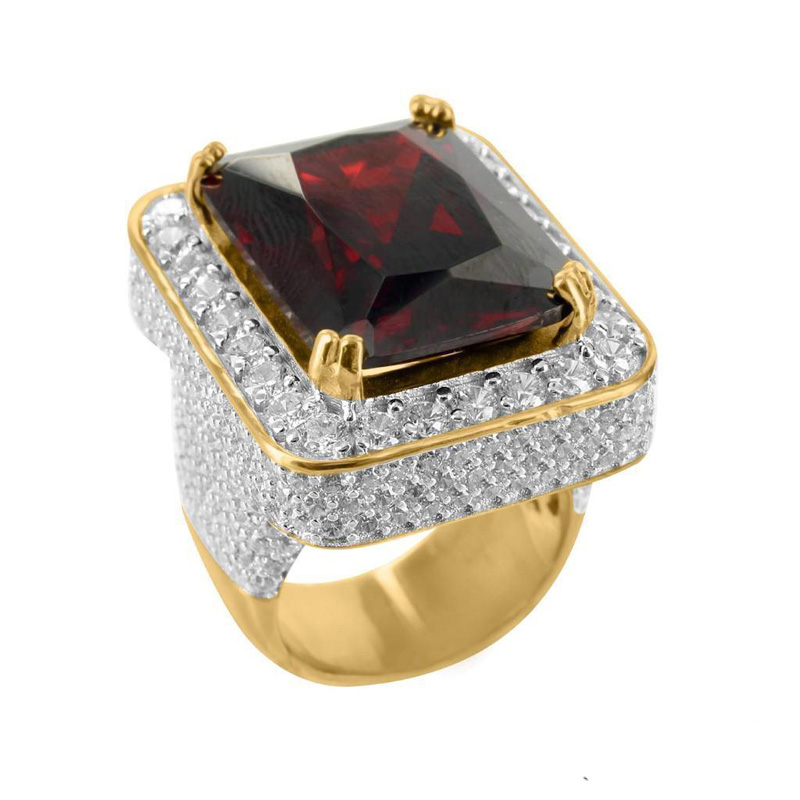 2017 high quality jewelry wholesale promotion red green black big stone gold silver colors hip hop bling mens micro pave ring