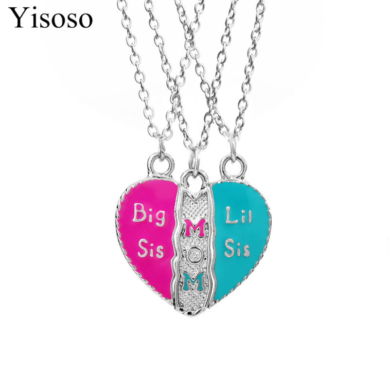 Yisoso Mother Daughter Necklace Heart Shaped 3 Pcs/Set Mom Big Sis Little Sis Necklace for Mother Two Girls Jewelry Gift XL014