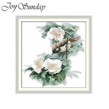 Flowers and Bird Joy Sunday Counted Cross Stitch Kits Animal Crossing 11CT 14CT DMC Canva DIY Embroidery Needlework