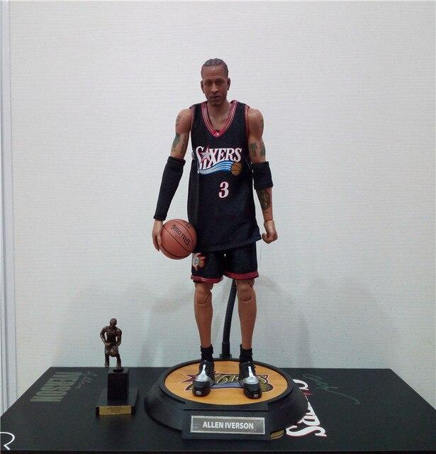 best service 11ba8 1e8de 1 6 NBA Basketball Star Allen Iverson 3 Jersey Soldier Action Figure Model