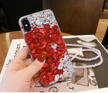 XINGDUO For Samsung Galaxy S10 Lite S8 S9 S7 S6 Edge plus Note8 9 5 Glitter Rhinestones Case diamond Jewelled Crystal case cover