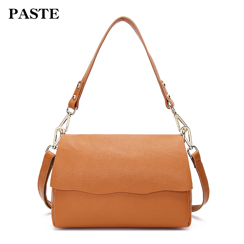 все цены на 2018 Fashion Genuine Leather Women Shoulder Bags Casual Simple Ladies Messenger Bag Small Famous Brand Design Leather Bags Women
