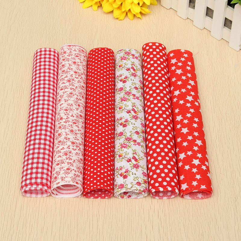 Wholesale 7pcs red flower floral pre cut quilting cotton for Bulk sewing material