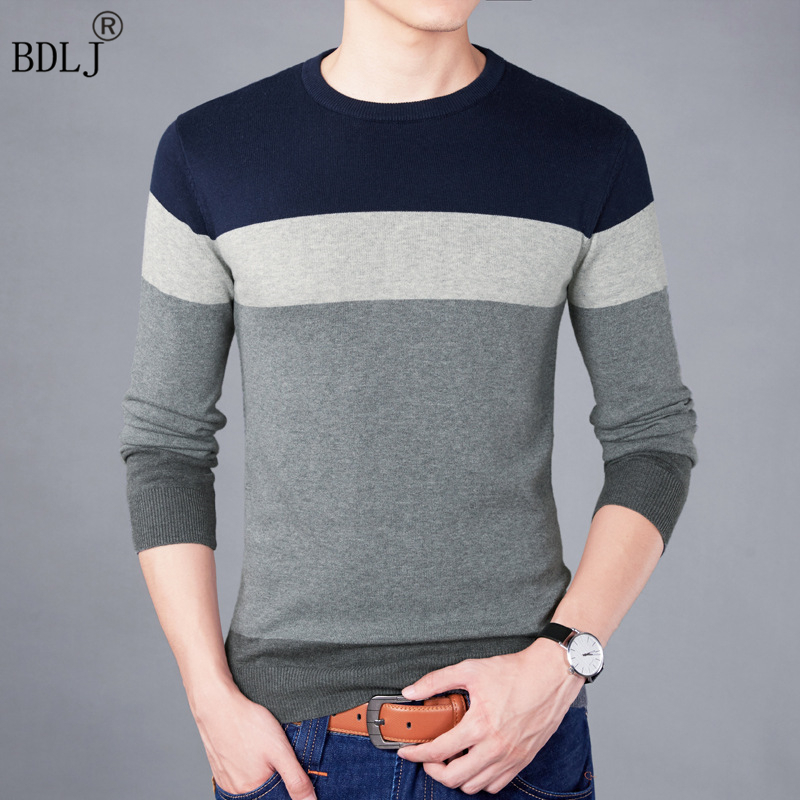 Pullovers Men Casual Sweater Slim-Fit O-Neck Knitting Autumn Striped Fashion-Brand M-3XL