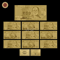 WR Gold Decorations Currency Paper Money 24k 999.9 100 Baht Thailand Rare Banknotes Bhumibol Adulyadej Memory Gifts