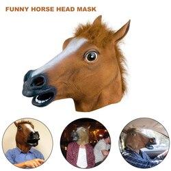 Máscara de cabeça de cavalo de látex adulto máscara de cabeça de cavalo cosplay cara cheia horror animal máscara de cabeça de halloween fontes de festa de halloween máscara de cavalo