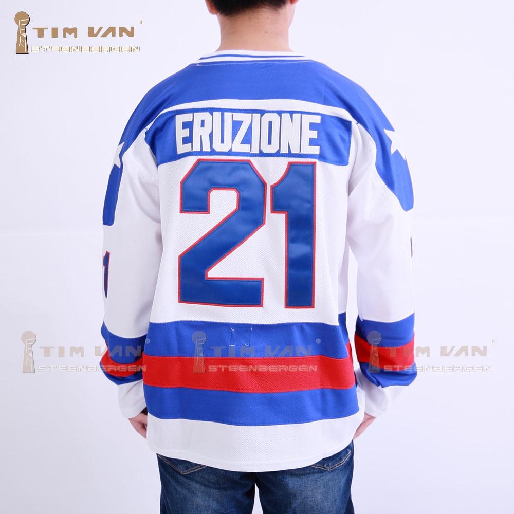 TIM VAN STEENBERGE 1980 Miracle On Ice Team USA Mike Eruzione 21 Hockey  Jersey-White dff846e94