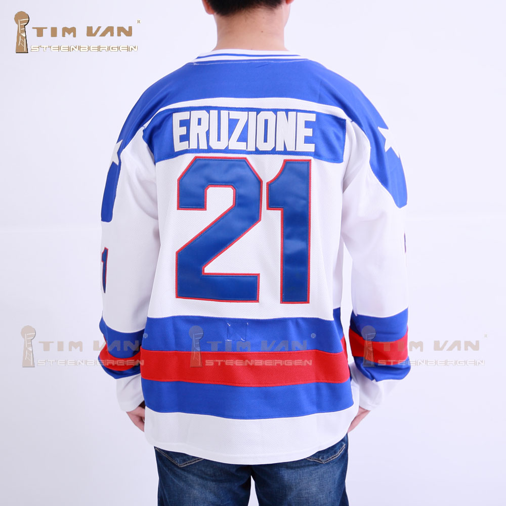 TIM VAN STEENBERGE 1980 Miracle On Ice Team USA Mike Eruzione 21 Hockey Jersey-White ice hockey jersey usa 30 jim craig 17 jack o callahan 21 mike eruzione steenberge 1980 miracle on ice team sewing size s 3xl