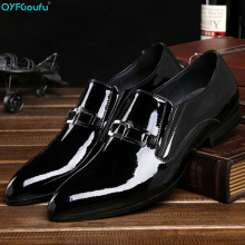 2019 luxury Handmade Men's formal shoes Patent Leather 100% Genuine Leather Fashion Casual Luxury Wedding Party shoes
