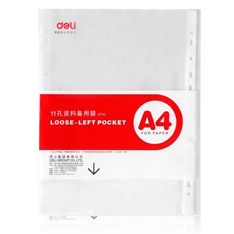 100Pcs File Covers 11 Holes File Folder A4 Transparent Data Bag Live Page U Shaped File Folder Inner Protection Sleeve
