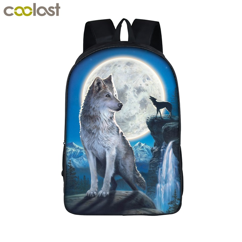 Cool Wolf School Backpack for Girls Boys Children Book Bag Animal Tiger Cute Backpack Female Teen mochila cat Men Travel Bags minions ninja mini messenger bag children cute animal dog cat horse printing school bags boys kids book bag for snack best gift
