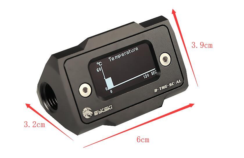Bykski OLED affichage numérique compteur de température de L'eau refroidisseur d'eau Système Double G1/4 ''Thermomètre Température Capteur Montage - 5