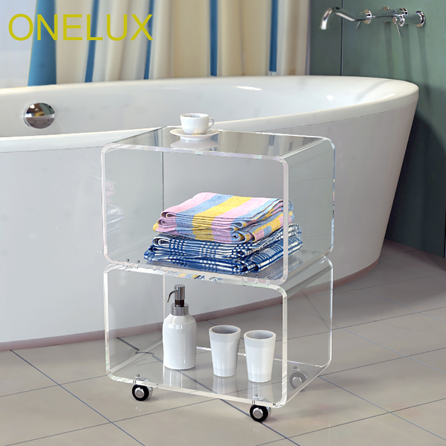все цены на Waterfall Acrylic Stacked Accent Table,Lucite Bathroom Table On Wheels