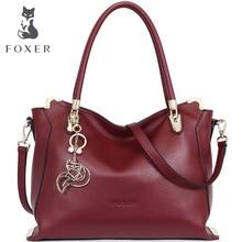 FOXER Marke Frauen Weichen rindsleder Umhängetaschen spezielle solide frauen handtasche Weibliche Mode tote
