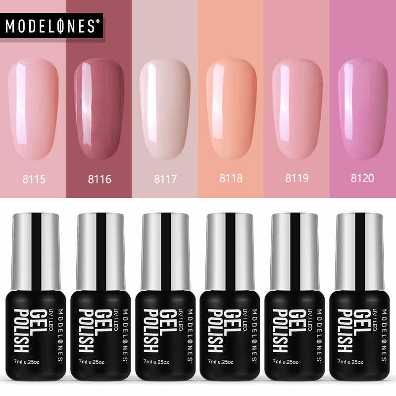 Modelones 6 pz/lotto Rosa Serie di Colore UV Del Gel Del Chiodo Set FAI DA TE in Stile Francese Salon UV Gel Per Unghie Kit soak Off UV Smalto
