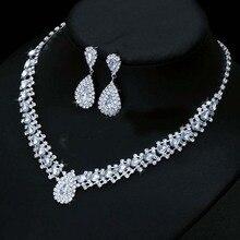 Роскошные свадебные ювелирные наборы для невесты, ювелирные изделия для невесты, серебряные серьги, ожерелье, набор австрийских кристаллов,, подарок