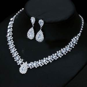 Wedding-Jewelry-Sets Necklace-Set Drop-Earring Crystal Gift Bridal Luxurious for Austria