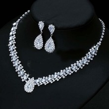 Wedding-Jewelry-Sets Necklace-Set Drop-Earring Crystal Gift Bridesmaid Wholesale Luxurious