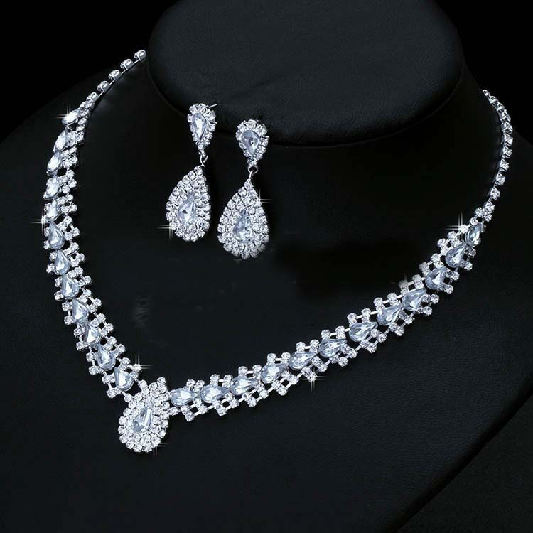 Luxurious Wedding Jewelry Sets Bridal Bridesmaid Jewelery Silver Drop Earring Necklace Set Austria Crystal Gift
