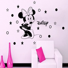 High Quality Custom Name  Minnie Mouse Girls Wall Art Sticker Cartoon Home Decor Decal For Kids Baby Room Y-189