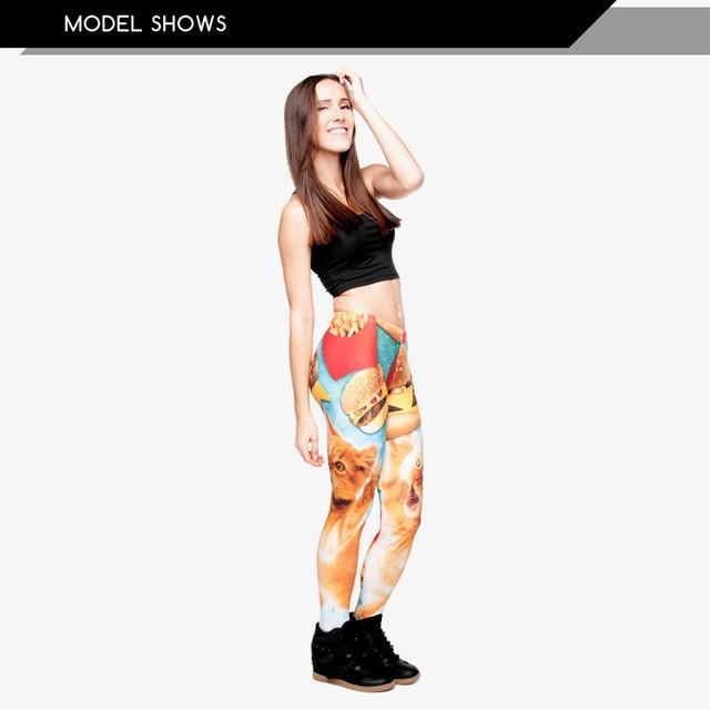 Funny Leggings Women Girls Funny 3D Fast Food Cats Printed Adventure Time Leggings