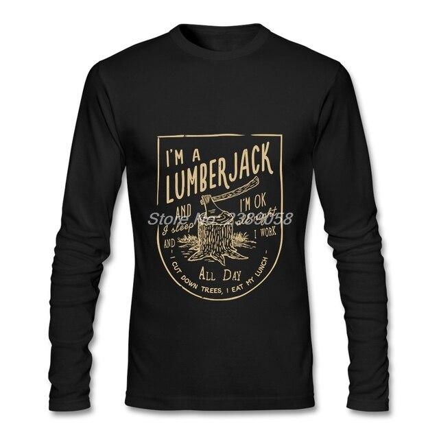 New Style Men's tshirt Long Sleeve Lumberjack Song Elastic Unique Print Tee shirts Cotton Mens Clothing