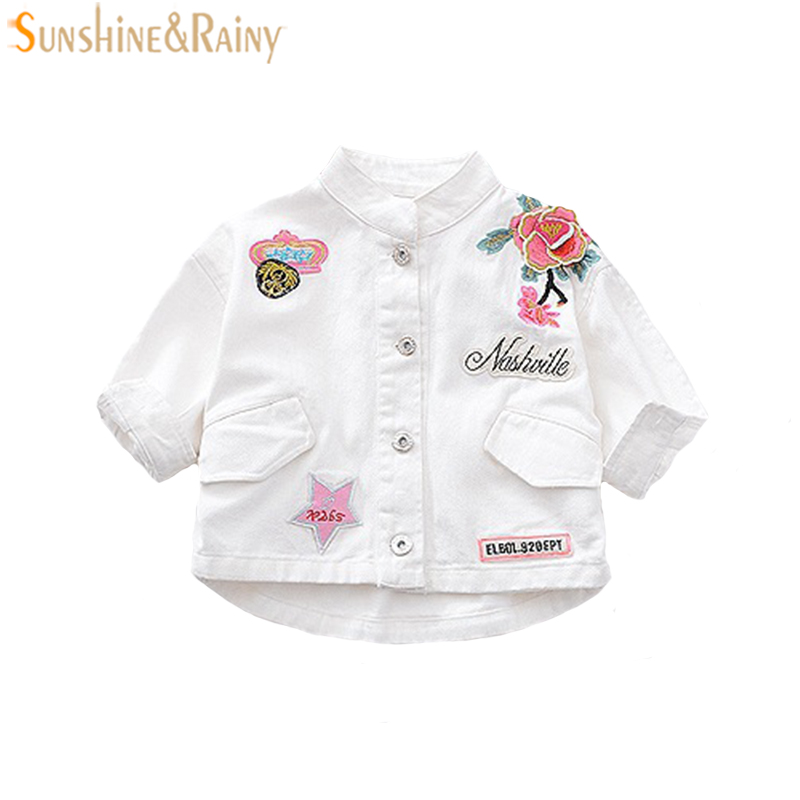 Карамельный цвет джинсы для маленьких девочек пальто Вышивка весенняя куртка для Детское пальто тонкий малыша Обувь для девочек Джинсовая ...