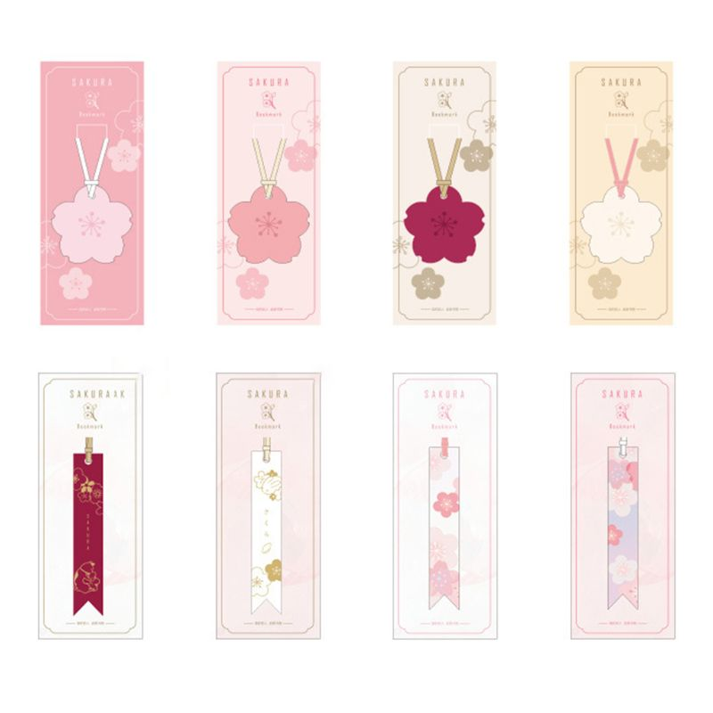 Sakura Flower Series Petal Leather Bookmark Creative Stationery Hot Stamping Diy Practical Stationery Student Gift Beautiful Bo