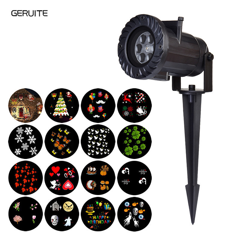 GERUITE 15 Types LED Stage Lighting Effect Holiday Waterproof Projector Lamp Christmas Halloween Snowflake Star Laser Light GERUITE 15 Types LED Stage Lighting Effect Holiday Waterproof Projector Lamp Christmas Halloween Snowflake Star Laser Light