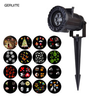 GERUITE 15 Types LED Stage Lighting Effect Holiday Waterproof Projector Lamp Christmas Halloween Snowflake Star Laser