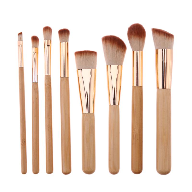 Pro 8pcs Bamboo Handle Makeup Brushes Kit Foundation Blush Eyeshadow Cosmetic Brush Facial Multifunction Brushes Make Up Tool 12pcs makeup brush set wood handle facial mask foundation brushes cosmetic eyeshadow eyebrow make up brush kit makeup bag