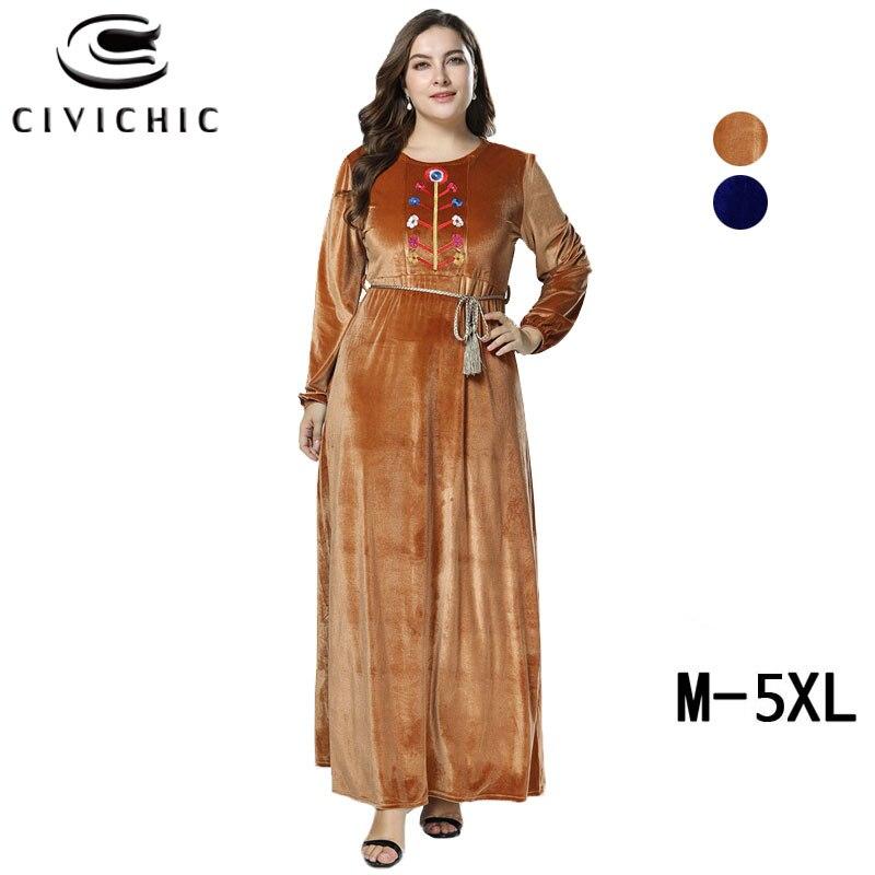Longue Robe Drs239 Flanelle Brown Plus Cordon Ethnique Velours Ceinture Broderie navy Florale Taille Maxi Civichic La Hiver Femmes qtwzqZ