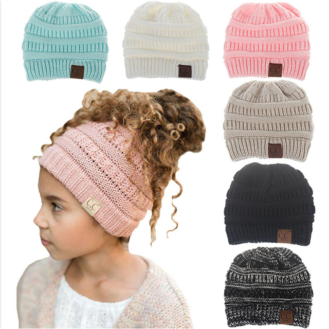 98319c377e2 Children s wool hat outdoor warm hooded ponytail hair knitted hat winter hat  hot sale