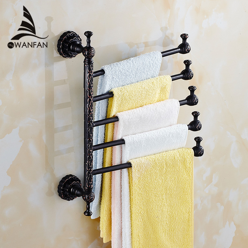 Towel Racks Brass Wall Mount 3-6 Active Bars Rotate Rail Towel Holder Scarf Clothes Hanger Bathroom Shelf Home DecorationFE-8618 fixmee 50pcs white plastic invisible wall mount photo picture frame nail hook hanger