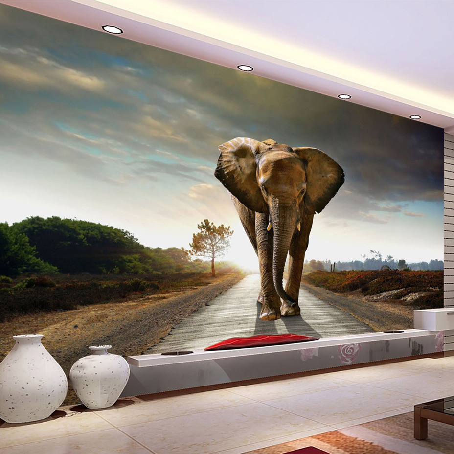 Custom Size Elephant Photographic Background 3D Photo Mural Wallpaper Living Room Bedroom Printed Wallpaper Murales De Pared 3D