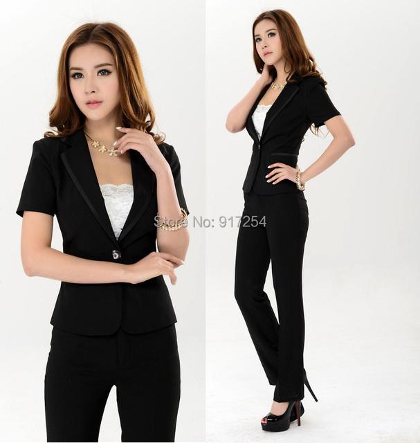 Plus Size XXXL preto elegante 2015 nova moda das mulheres desgaste do trabalho calças ternos ( revestimento + calças ) ternos uniformes conjunto roupas formais