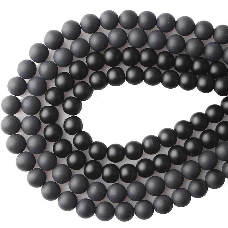 CAMDOE DANLEN Naturstein Black Dull Polnischen Matte Achate Onyx Frost Glas perlen 4 6 8 10 12 14mm Fit DIY Für Schmuck machen