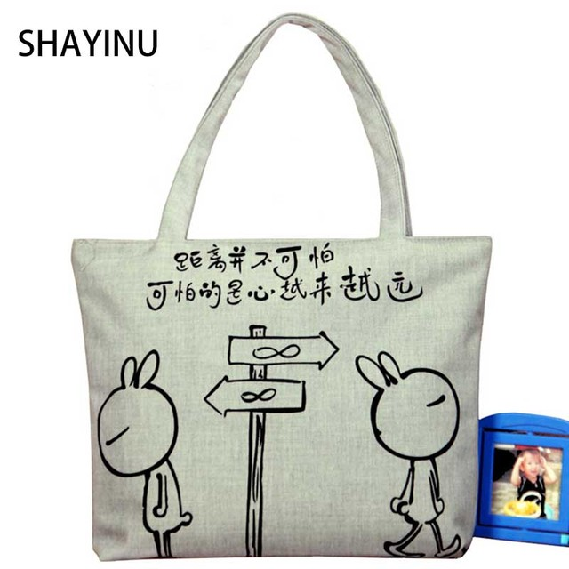 Fashion Women Canvas Handbag Cute Rabbit Liques Travel Shoulder Bags Causal Lady Handbags Female Toto