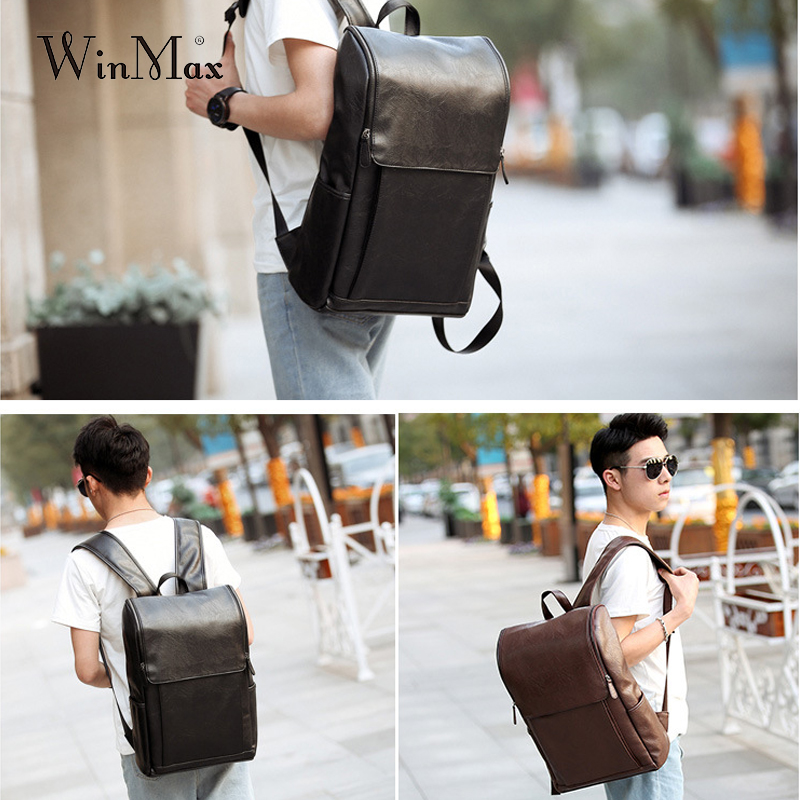 Image 2 - WInmax PU Leather Backpack Men Business Rucksack Fashion Bag Student Schoolbags Men Travel Bags for Teenagers BackpacksBackpacks   -