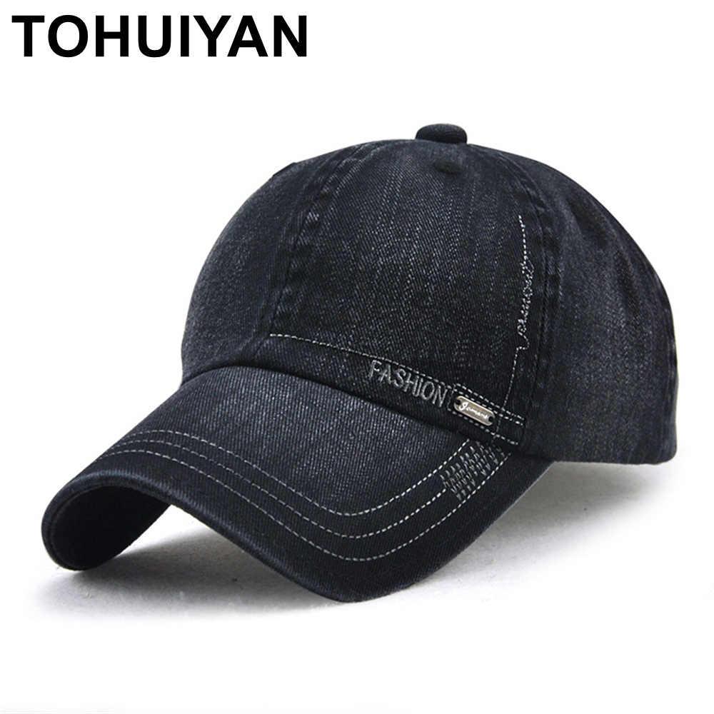 2a8261a4fbf TOHUIYAN Mens Vintage Cotton Baseball Cap Adjustable Casquette Golf Hat  Curved Visor Snapback Caps Autumn Winter