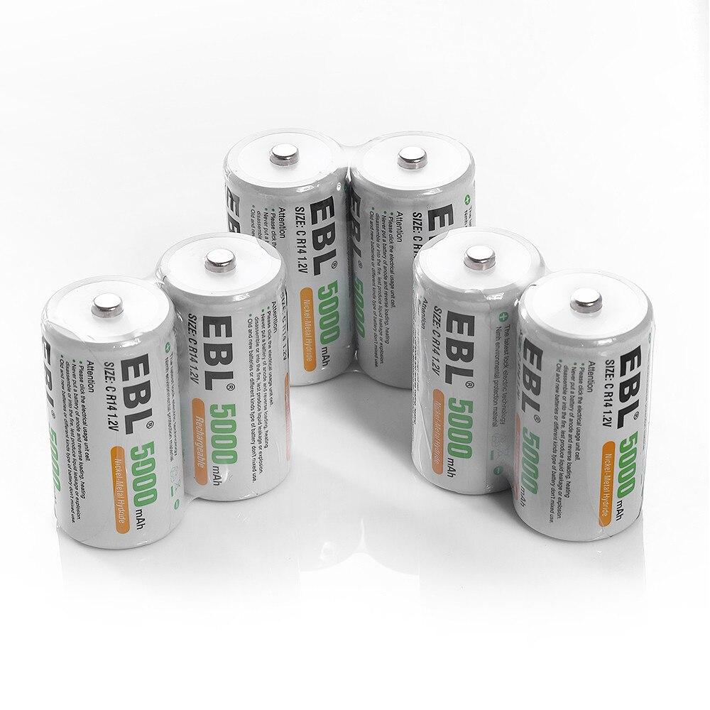 EBL 10 pièces taille C R14 Batteries rechargeables 5000 mAh 1.2 v Ni-Mh batterie de remplacement pour lampe de poche jouets puissance Portable