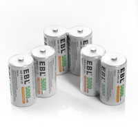 EBL 10pcs Size C R14 Rechargeable Batteries 5000mAh 1.2v Ni Mh Replacement Battery for flashlight Toys power Portable
