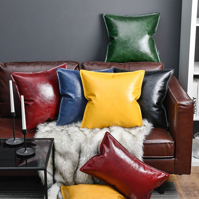 Solid Color Yellow Blue Home Decorative Pillows Soft Leather Throw Pillow Cases With Zipper <font><b>Cushion</b></font> <font><b>Covers</b></font> <font><b>30</b></font>*<font><b>50</b></font>/45*45/<font><b>50</b></font>*50cm image