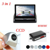 3in1 Car Video Parking Sensor Assistance System with Rear View Camera + 4.3inch Degital TFT Monitors Display Vehicle Video input