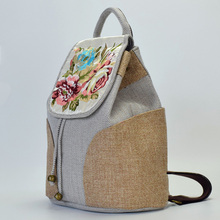 Flower Chinese Style Embroidery Women Backpack Canvas National Drawstring Backpack School Bag Girls Travel Rucksack Back Bags noenname chinese national style cow leather bag ladies and girls backpack tassel handmade ethnic flowers embroidery backpacks